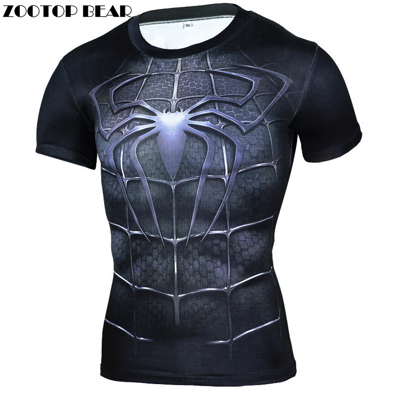 Spiderman 3D T-shirts Men Bodybuilding Crossfit Fitness T Shirts Summer Tops Short Sleeve 2017 Male Captain American ZOOTOP BEAR