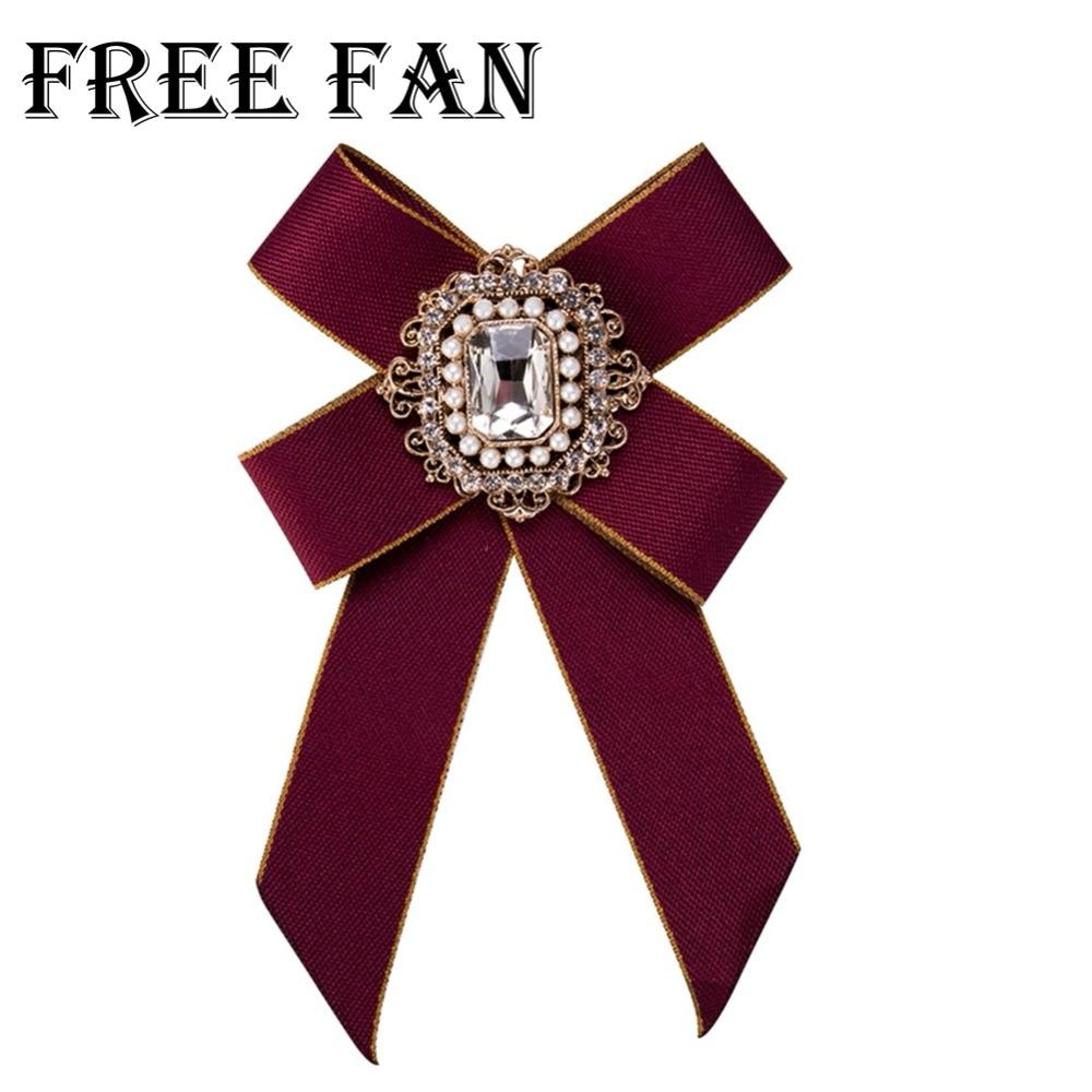Free Fan Rhinestone Flower Vintage Brooch Fashion 2018 Fabric Bowknot Brooch Pins Jewelry For Women's Clothing & Accessories