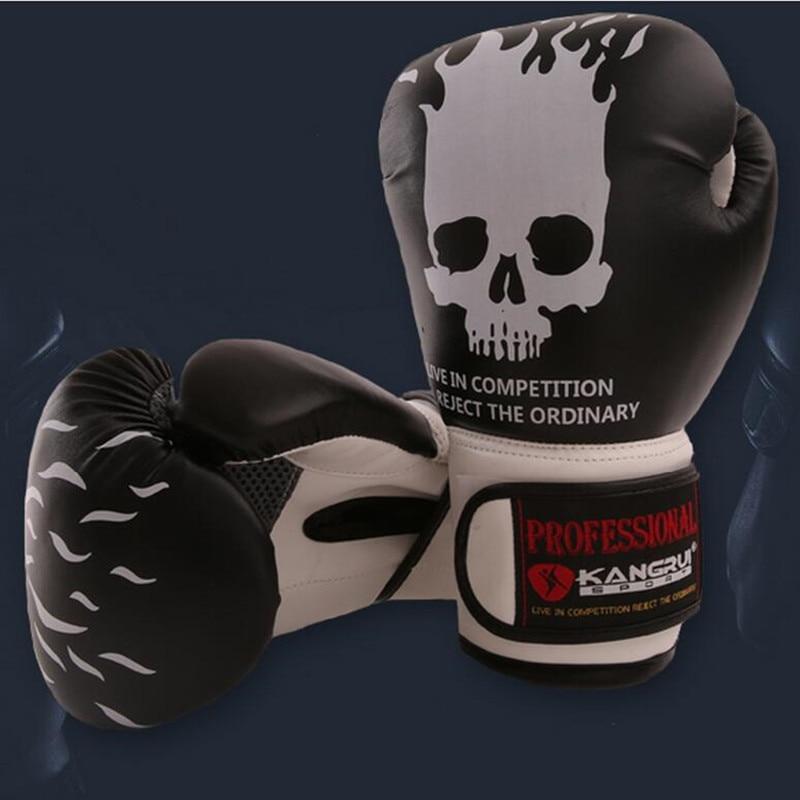 Two Colors Skull Boxing Gloves Muay Thai Grappling Training Kicking Martial Arts