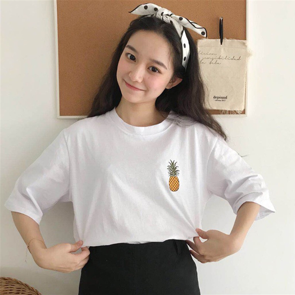 Women 39 s Summer Korean Loose Casual Round Neck Short Sleeve T Shirt Cute Cartoon Pineapple Embroidery Pattern Solid Color Top in T Shirts from Women 39 s Clothing