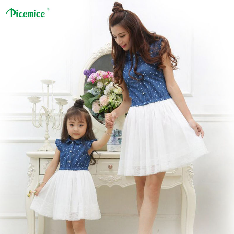 Mother Daughter Dresses 2017 Summer Family Clothing Mom and Daughter Dress Family Matching Outfits Dress for Kids and Women telle mère telle fille vetement