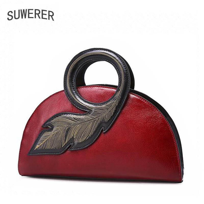 SUWERER 2018 New Superior Cowhide Handmade luxury Art bag Women Genuine Leather bags fashion luxury handbags women bags designer suwerer women genuine leather bags 2018 new fashion handmade drawing plum flower top cowhide luxury designer women leather bags