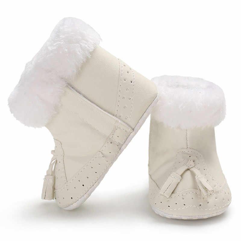 Детская обувь для мальчика девушка мягкая подошва пинетки кисточки зимние сапоги розовый малыш теплая однотонная обувь для маленьких мальчиков и девочек Нескользящие ST #