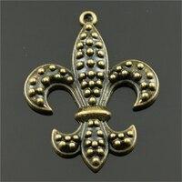 20pcs 40*32mm Antique Bronze Color Fleur De Lis Charms, Vintage Jewelry Finding Diy Handmade Craft