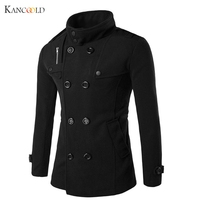 New Fashion Men Solid Slim Trench Coat England Style Long Jacket Overcoat Double Breasted British Style