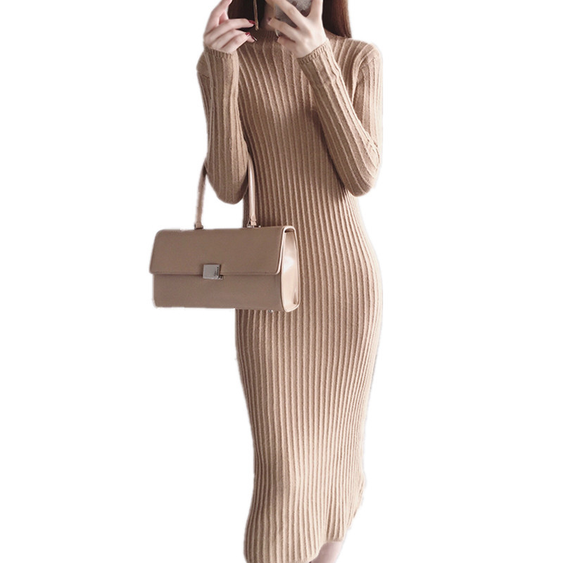 Knit Package Hip Autumn/Winter Pencil Sweater Dress Solid Color Bottoming Vestido Female High Quality Casual Robe Hiver TT3590