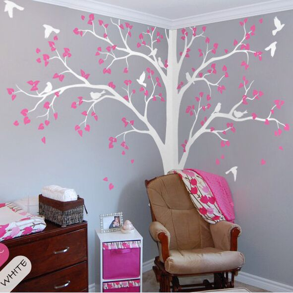 Plein coin arbre mur autocollant pépinière enfants chambre mur décor ensemble de deux coin arbre vinyle mur Sticker oiseaux et feuilles Mural AY1341