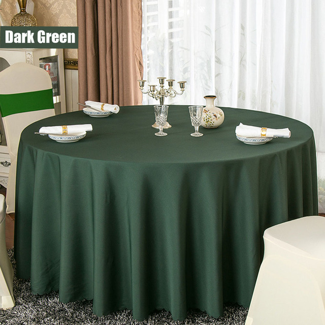 10pcs Lot 100 Polyester Solid Round Table Cloth For Hotel Wedding Party Decoration White