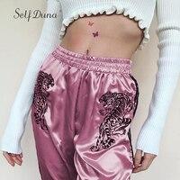 Self Duna 2018 Women High Waist Satin Pants Sweatpants Female Trousers Joggers Pink Tiger Embroidery Striped Casaul Harem Pants