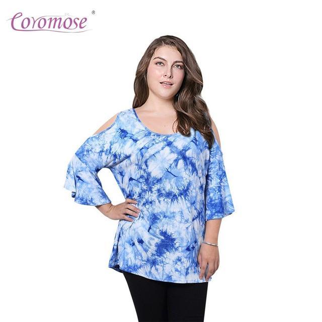 b643ae38cb9e0 Coromose Women Tunic Tops Tie Dye Printing Cold Shoulder Off Shirt Plus Size  Round Neck Loose Fashion Cotton Spandex Soft ZK 20