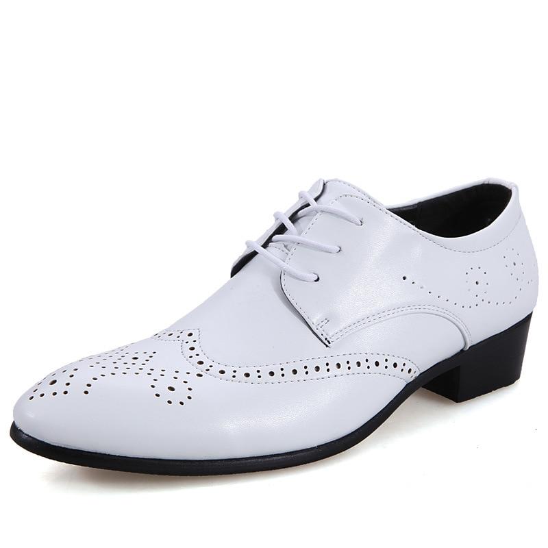 Solid White Black Microfiber Leather Shoes Brogue Style 2019 Spring Men's Flats Dress Business Shoes Rock Punk Formal Suit Shoes