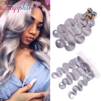 Sapphire Peruvian Lace Frontal With Body Wave Bundles Grey Color 3 Bundles with 13*4 Free Part Lace Frontal Human Hair Weave