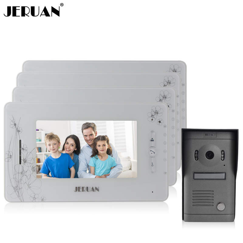 JERUAN 7 inch LCD screen video door phone recording intercom system 4 monitor + 700TVL IR Night vision Camera