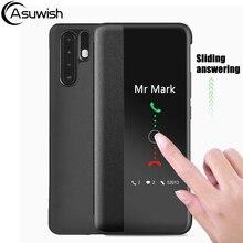 Capa flip couro caso do telefone para huawei p30 p40 pro p30pro p20 lite p10 plus p 30 20 10 p10plus p20lite p20pro smart view caso