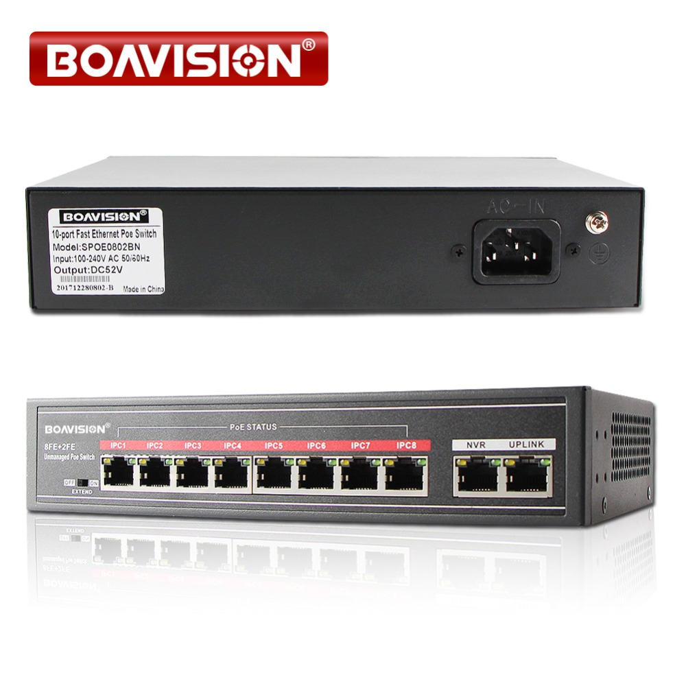 With 8 Port PoE Switch Adapter 8+2 Port Desktop Fast Ethernet Switch IEEE802.3af/at 104W For CCTV Network IP Cameras POE Powered
