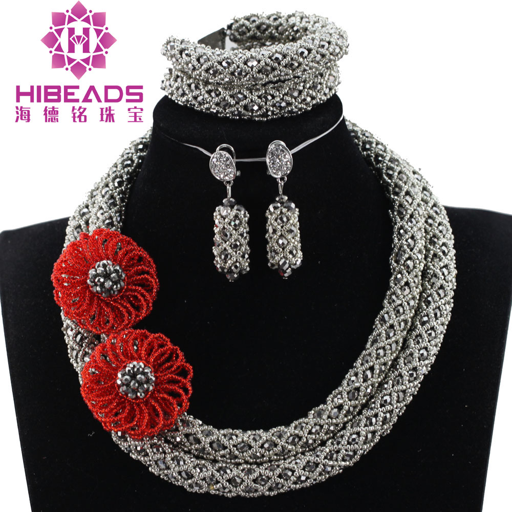 New African Silver Beads Jewellery Set Charms 2 Layers Silver and Red Chunky Statement Crystal Jewelry Sets Free Shipping ABH396