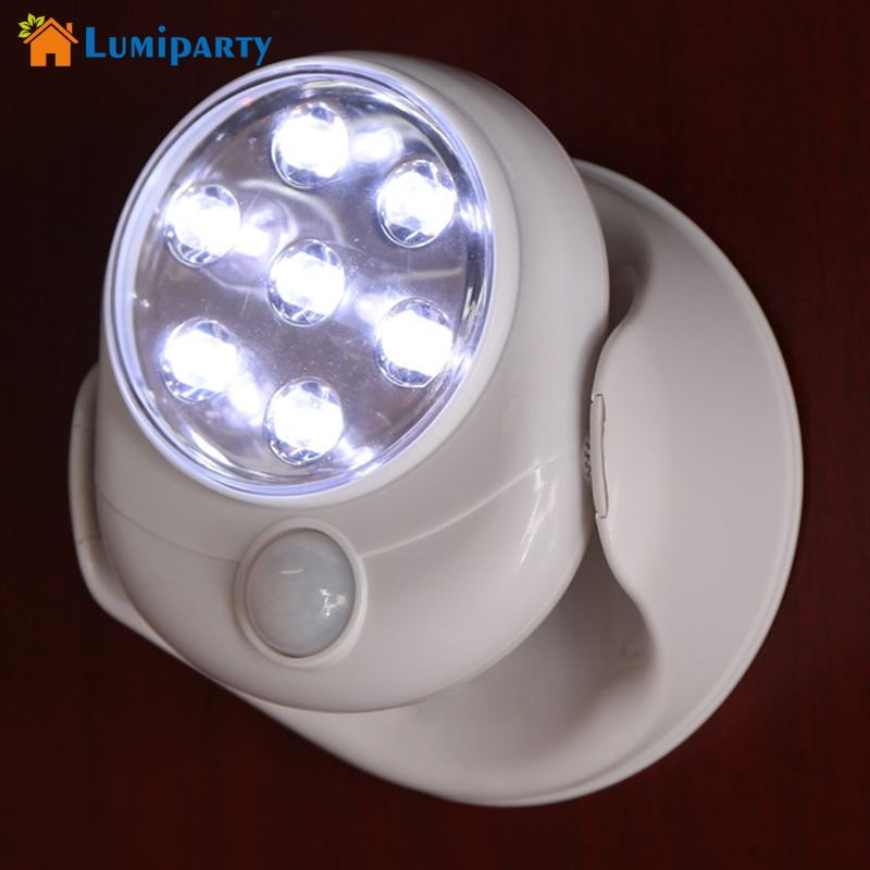 cheap Lumiparty 7Led  Wall Lamp Wireless PIR Motion Sensor Night Light Battery Operated Home Use Indoor Baby Night Light pic,image LED lamps deals