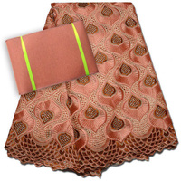 (5yards/pc) high quality peach Swiss voile lace fabric African cotton lace with embroidery plus ASO OKE headtie for dress CLP111