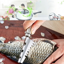 Kitchen Tools Cleaning Fish Skin Stainless Steel Fish Scales Scraper Brush Remover Cleaner Descaler Skinner Scaler Fishing Tools