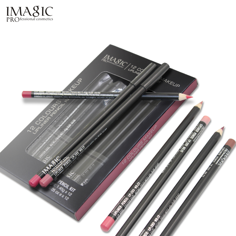IMAGIC Lipliner Pencil Wasserfeste Lippenkontur Kontur Kosmetik Lipliner Pen Makeup Lip Pencil Set 12 Farben