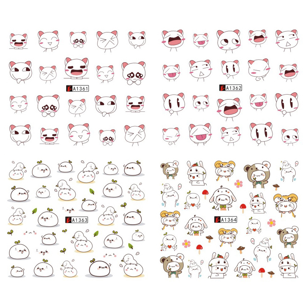 12 Designs Cartoon Nail Art Water Transfer Sticker DIY Wraps Women Mixed Decals Nail Tips Decoration Manicure SAA1357-1368