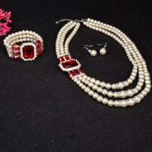 UDDEIN Nigerian Wedding Indian Jewelry Bracelet Necklace Earring Set Simulated Pearl statement chokers African Beads Jewelry Set