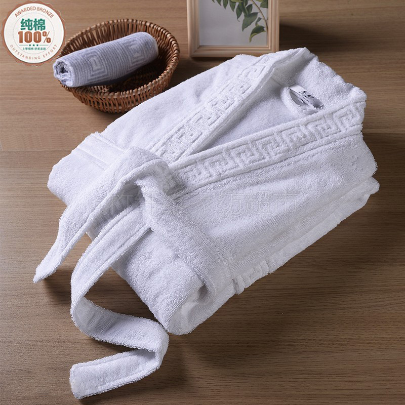 Natural cotton Toweled bathrobes fabric Chinese style Nightgown Causal Loose Sleepwear men soft Bath Robe Dress Gown