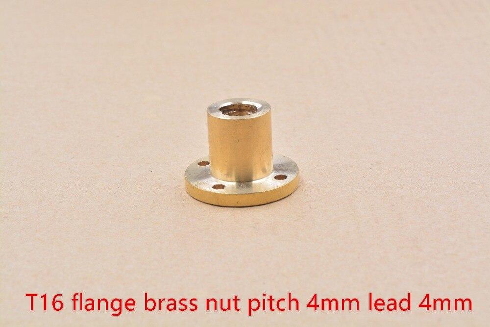 все цены на 304 stainless steel T16 trapezoidal screw nut flange brass nut lead 4mm 1pcs онлайн
