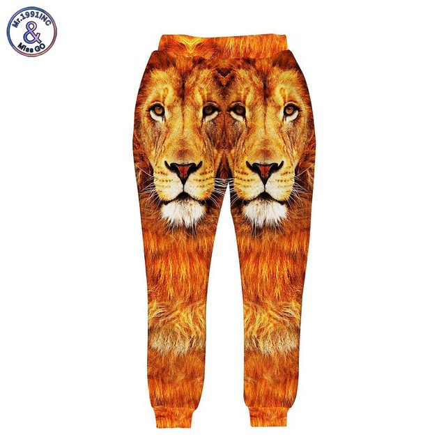 Mr.1991INC Animals print men's 3d pant printing lion king long harem pant joggers trousers