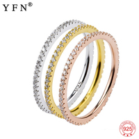 GNJ0479 Genuine 925 Sterling Silver Cubic Zirconia Rings Set Fashion Jewelry Tri Color Wedding Ring For Women 3pcs One Set