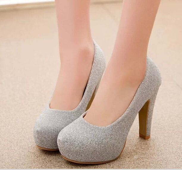 2016 new summer rough heel high heeled round shallow mouth low to help women shoe color frosted ladies high heels 10 cm
