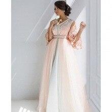 Kaftan 2017 Luxus Appliques V-ausschnitt Dubai Kaftan Abendkleider Drei Viertel Sleeve Arabischen Abendkleid Formales Kleid EP48