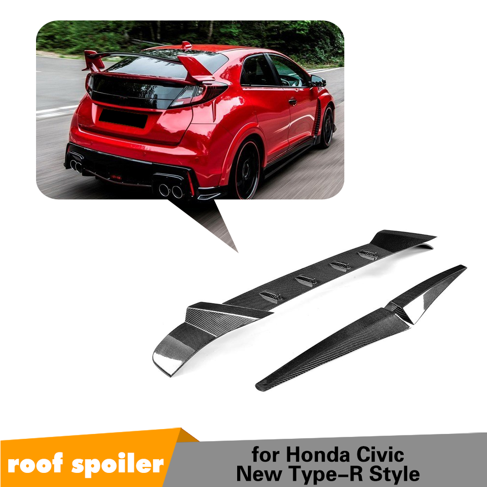 Carbon Fiber Car Racing Rear Trunk Roof Spoiler Wing case for Honda Civic Type R Hatchback 4 Door 2015 2016 Car Styling 3PCS/Set car styling for honda ek civic 4dr 98 00 carbon fiber oem trunk tailgate glossy fibre boot racing auto body kit accessories trim