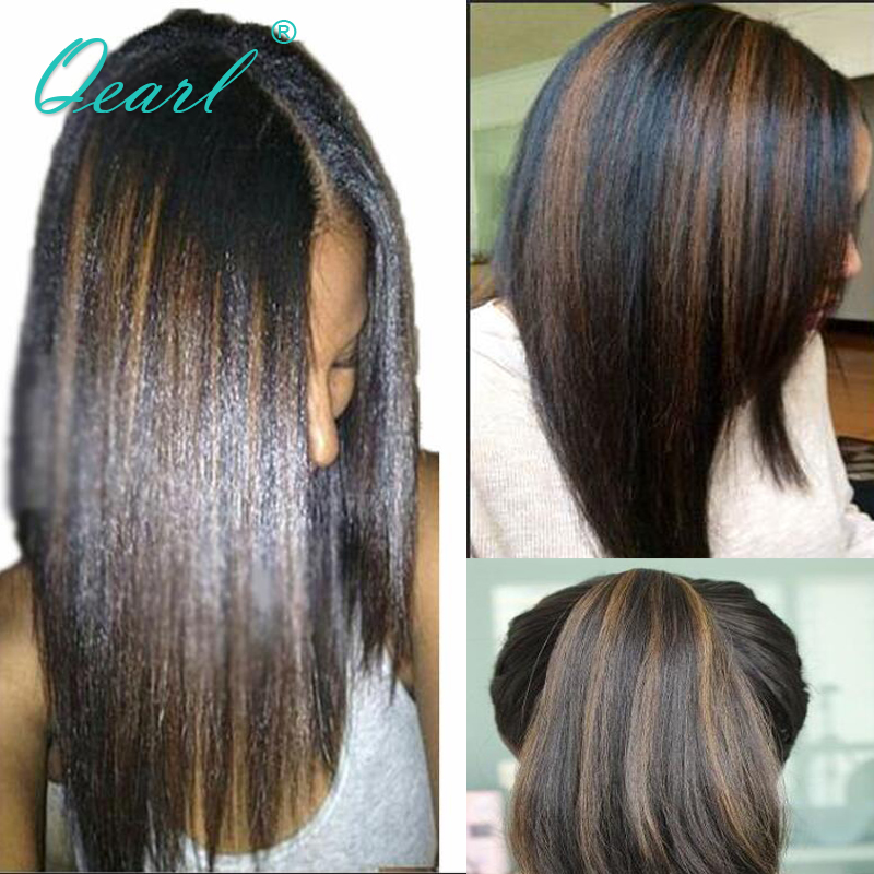 Highlight Colored Human Hair Wigs Lace Front Wig Preplucked Hairline With Baby Hairs Brazilian Straight Remy Hair 13x6 Qearl
