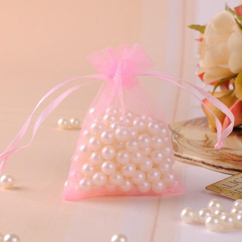 80bb8f2af 500 unids/lote 7x9 cm Rosa empaquetado del caramelo del regalo del banquete  de boda Bolsas organza joyería Bolsas de tela aceptar logotipo personalizado  ...