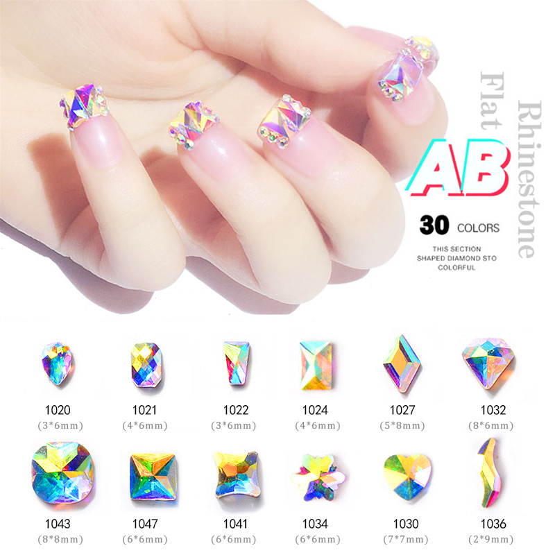 10pcs Crystal AB Rhombus Nail Glitter Rhinestones Glass Flat Back 3D Diamond Paillette Art Decorations Manicure Design