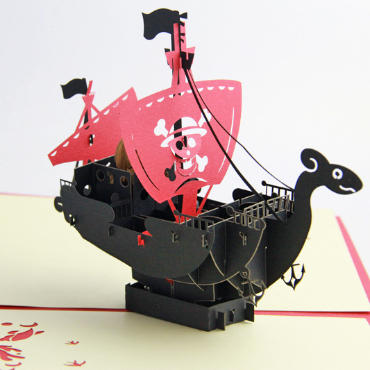 going merry pirate ship 3d pop up greeting card handmade free