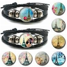 Literary Paris Eiffel Tower Bracelet Glass Dome Cabochon Souvenir Black Button Leather Woven Bangle for Men Women Gift