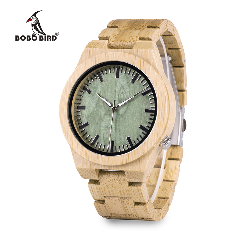BOBO BIRD M006 Mens Top Brand Design Green Wood Dial Full Bamboo Wooden Quartz Watches Japan 2035 Miyota Movement OEM bobo bird k03 newest arrival nature bamboo mens watches top brand uv printing philippines flag dial watch case soft leather band