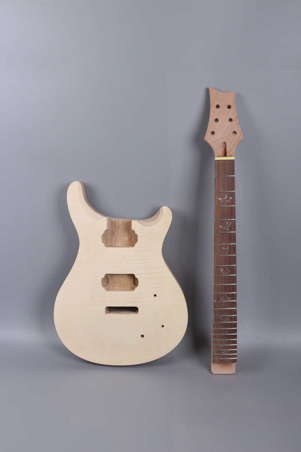 24.75 inch 22 fret electric guitar Body flam maple top Solid wood Diy guitar parts# - mahogany made  and rosewood fingerboard diy electric bass guitar kit bolt on solid mahogany body canadian maple neck mx 036