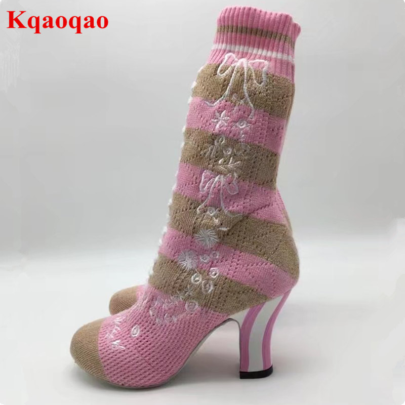 Women Sock Boots Flower Embroidered Shoes Spring Autumn Shoes Short Booties Chaussures Femmes Zapatos Mujer Runway Super Star round toe women boots short booties luxury brand designer super star runway shoes chaussures femmes front lace up shoes flats