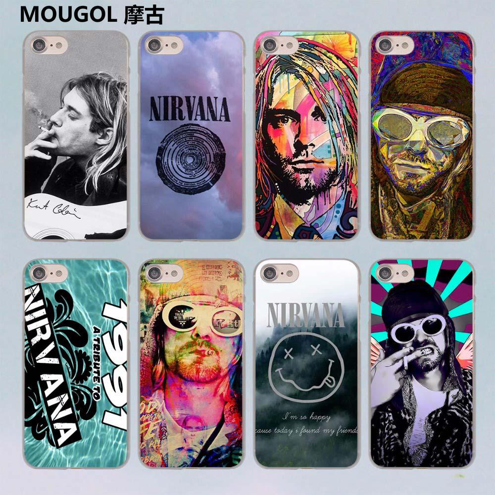 MOUGOL Nirvana Kurt Cobain design transparent clear hard case cover for Apple iPhone 7 7Plus 6S 6 Plus 5 5s SE 5C