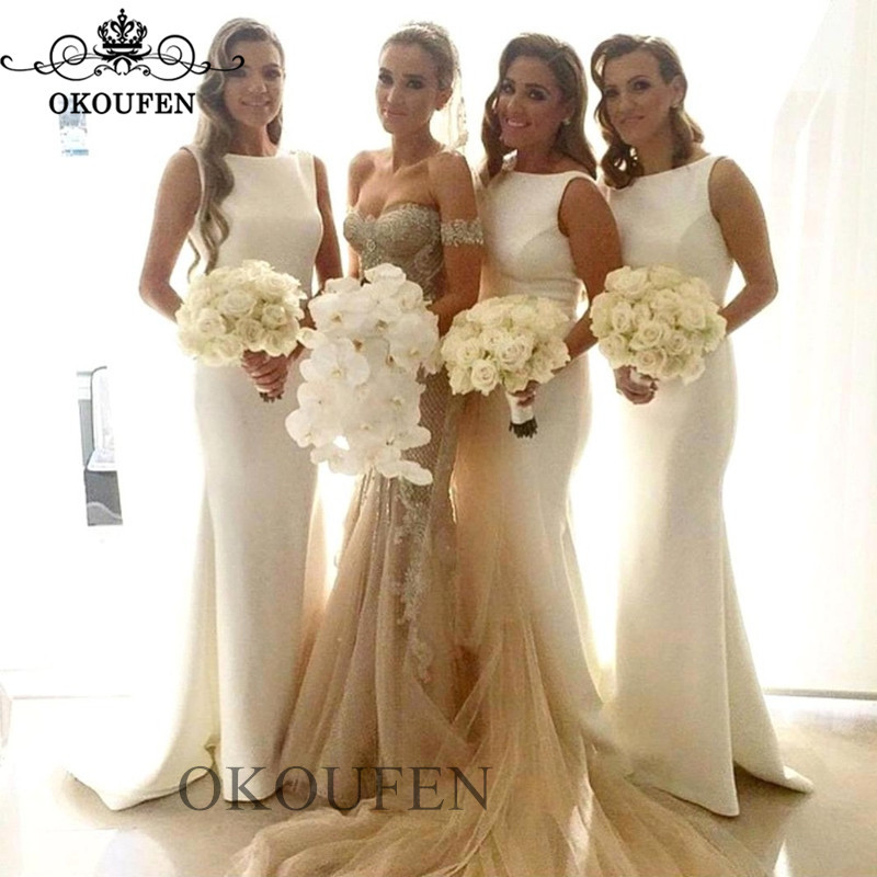 2019 White Mermaid   Bridesmaid     Dresses   For Women Wholesale Price Sleeveless Long Sweep Train Maid Of Honor   Dress   Party Gown