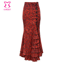 Vintage Victorian Red Brocade Ruffle Maxi Skirt Sexy Fishtail Slim Lace Up Long Skirts Womens Steampunk Gothic Mermaid Skirt(China)
