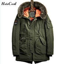 Hot 2017 Men Army Green Parka Warm Cotton Coat Solid Color Thick Hooded Fur Collar Fashion New Male Coats Soldier Winter Jacket