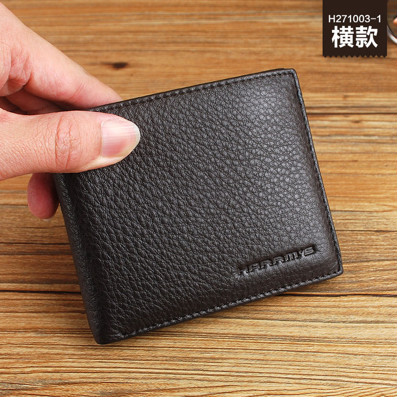 2017 Fashion Harrms Brand Genuine Leather small short Solid Men's Wallets Money Clip with zipper coin pocket Free Shipping