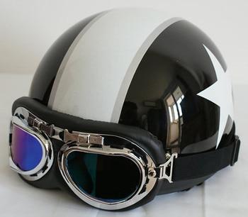 Retro New Black White Star Half Face Motorcycle Scooter Vespa Biker Helmet with Goggles/Visor S M L XL