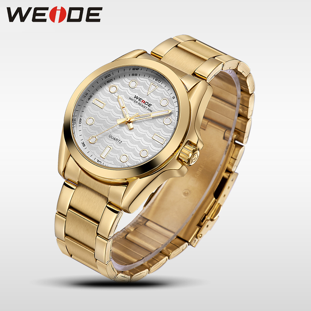 WEIDE Quartz Sport Water Resistant Watches Brand Luxury TOP Men Analog Clock Gold waterproof Stainless Steel Male Watch Box 802