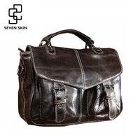 High Quality Women Fashion Design Original Messenger Bag Men Genuine Leather Handbag Female Vintage Shoulder Travel Flap Tote