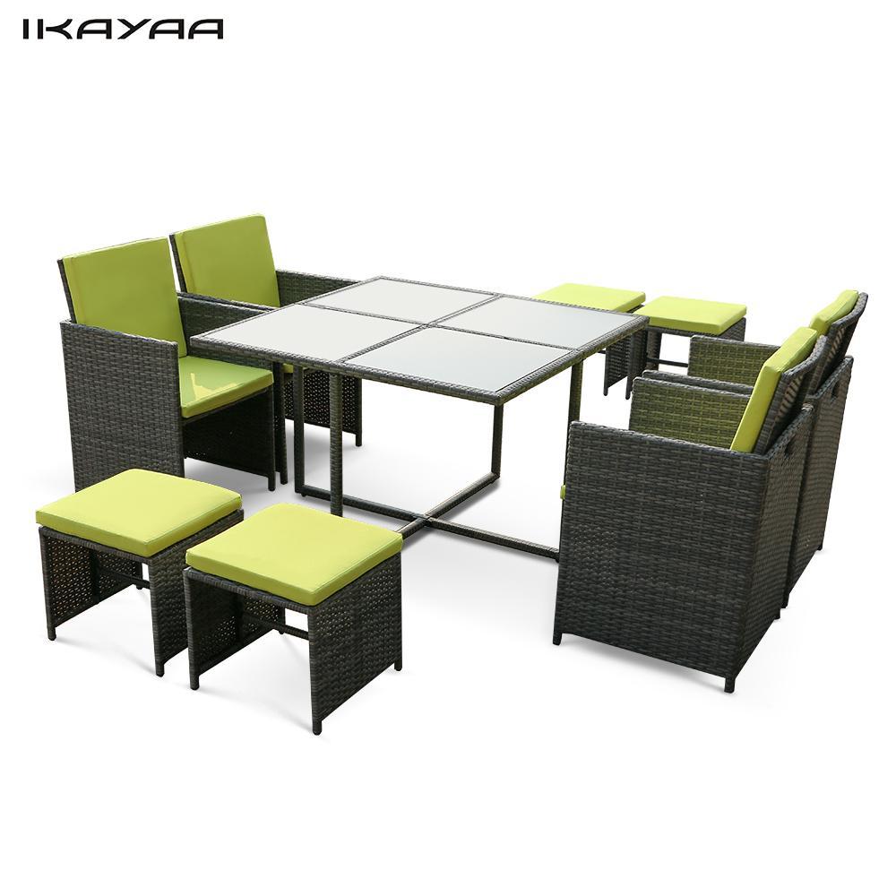 ikayaa unidsseater acolchada juego de jardn muebles del patio de la